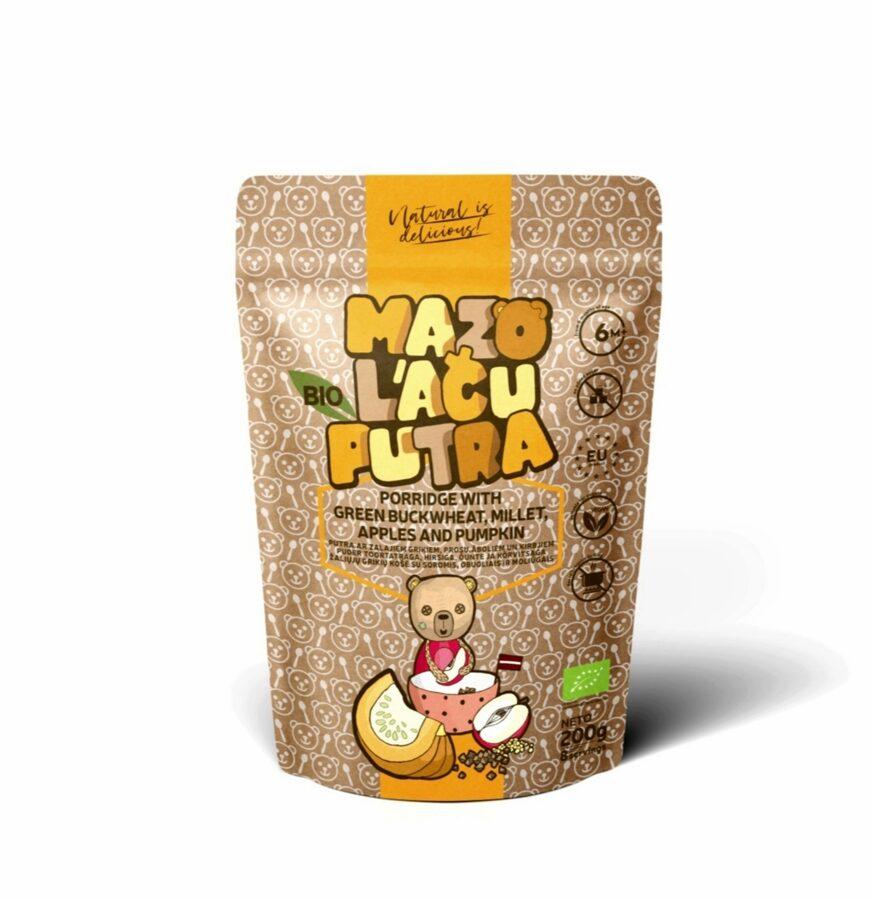 "BIO ""Mazo lāču putra"" buckwheat, millet porridge with apples and pumpkin, 6m, 200 g."