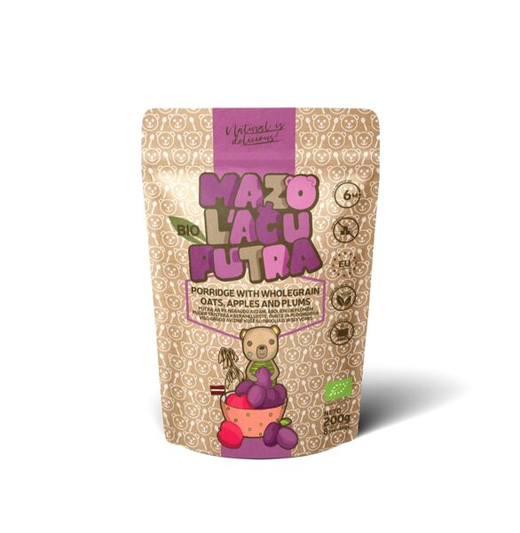 "BIO ""Mazo lāču putra"" whole grain oat porridge with apples and plums, 6m, 200 g."