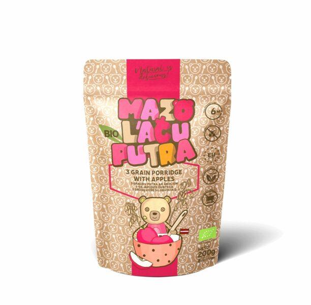 "BIO ""Mazo lāču putra"" whole grain oat, rice porridge with apples, 6m, 200 g."